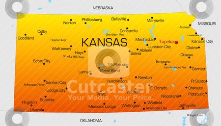 Kansas  stock vector clipart, Vector color map of Kansas state. Usa by olinchuk