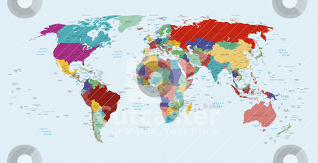 political map of the world stock vector clipart, Vector political map of the world by olinchuk