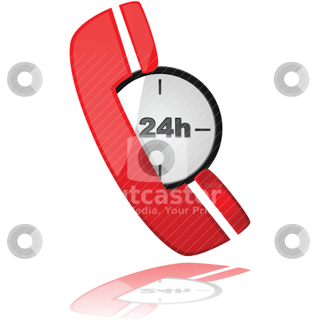 Emergency phone stock vector clipart, Glossy illustration showing a phone icon over a clock, to symbolize a 24-hour service by Bruno Marsiaj