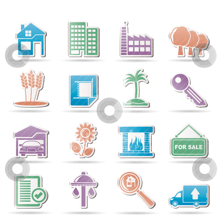 Real Estate and building icons  stock vector clipart, Real Estate and building icons - Vector Illustration by Stoyan Haytov