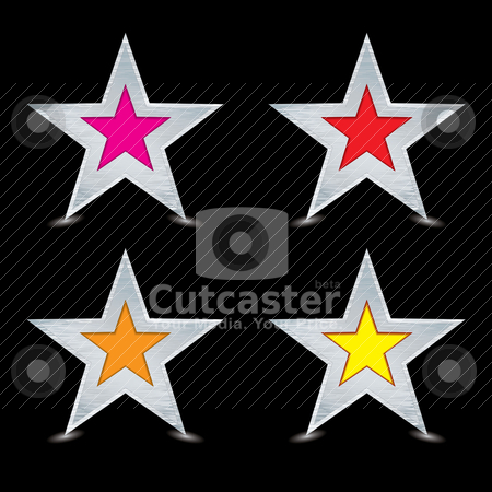 Brushed metal silver award stock vector clipart, Silver star concept with brushed metal surface and black background by Michael Travers