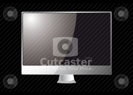 Modern computer monitor stock vector clipart, Silver computer screen or monitor with black background by Michael Travers