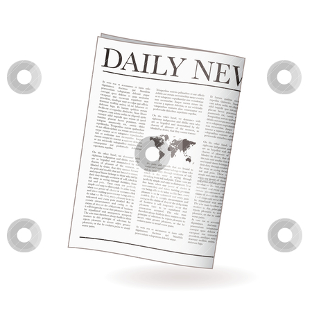 Newspaper daily stock vector clipart, Newspaper icon for daily news with world map and shadow by Michael Travers