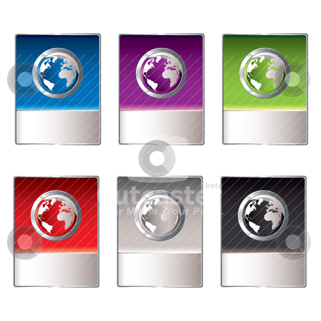 Web shop icon stock vector clipart, web shop icon collection with world or globe and copy space by Michael Travers