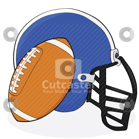 Football and helmet stock vector clipart, Cartoon illustration showing an American football and a helmet by Bruno Marsiaj