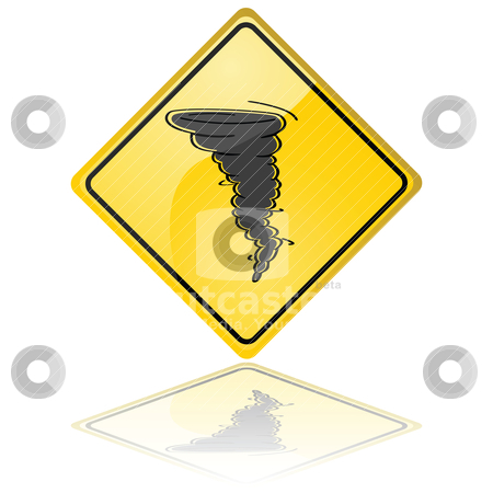 Tornado warning sign stock vector clipart, Glossy illustration of a warning sign showing a tornado by Bruno Marsiaj