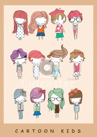 Illustration cute kids cartoon children stock vector clipart, illustration drawing sketch paint vector  by studiodrawing