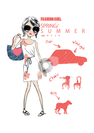 Style cute illustration girl on street stock vector clipart, illustration drawing sketch paint vector  by studiodrawing