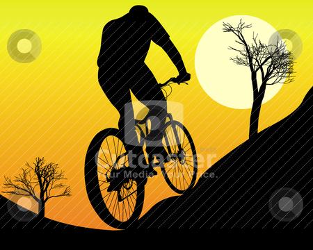 Mountain biker stock vector clipart, mountain biker on an orange background by Yuriy Mayboroda