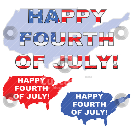"""Happy 4th of July stock vector clipart, Concept illustration showing the map of the United States with the words """"Happy 4th of July"""" over it by Bruno Marsiaj"""