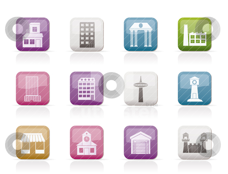 Different kind of building and City icons  stock vector clipart, different kind of building and City icons - vector icon set by Stoyan Haytov