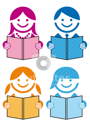 People with books, vector stock vector clipart, people reading books, vector icon set by Beata Kraus