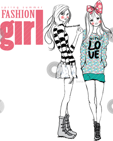 Fashion illustration girls stock vector clipart, drawing sketch pencil illustration by studiodrawing