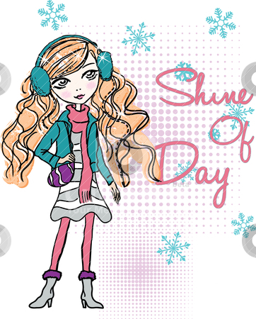 Shine illustration girl  stock vector clipart, illustration sketch drawing work by studiodrawing