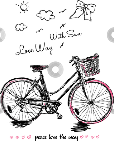 Sketch peace bicycle  stock vector clipart, illustration sketch drawing work by studiodrawing