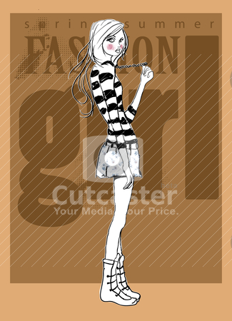 Fashion background illustration sketch girl  stock vector clipart, illustration sketch drawing pencil by studiodrawing