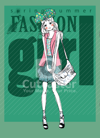 Fashion background illustration with bag sketch girl  stock vector clipart, illustration sketch pencil drawing freehand by studiodrawing