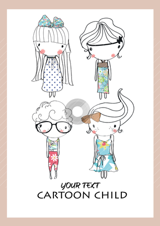 Cartoon cute child playing  stock vector clipart, illustration sketch pencil drawing by studiodrawing