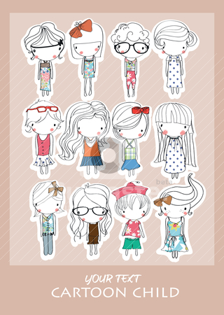 Cartoon child playing  stock vector clipart, illustration sketch pencil drawing by studiodrawing