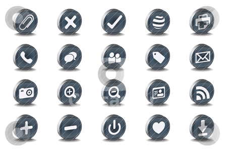 Mono Inset Various Vector Icons stock vector clipart, Mono Inset Various Vector Icons by gotovanko1