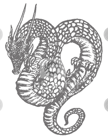 Oriental Dragon Old-style Ink Drawing stock vector clipart, An ink drawing of an oriental dragon or serpent reminiscent of old woodcut illustrations.  by Rudyard Mace
