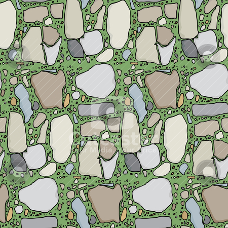Seamless Flagstone in Grass stock vector clipart, Seamless pattern with various types of stone in green grass by Eric Basir