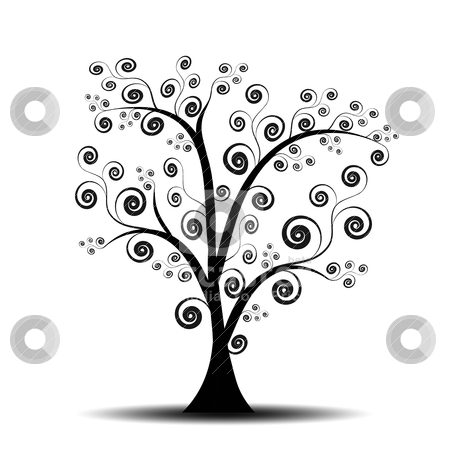 Art tree stock vector clipart, Beautiful abstract art tree on white background by Ingvar Bjork