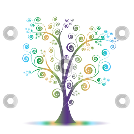 Colorful art tree stock vector clipart, Colorful abstract art tree on white background by Ingvar Bjork
