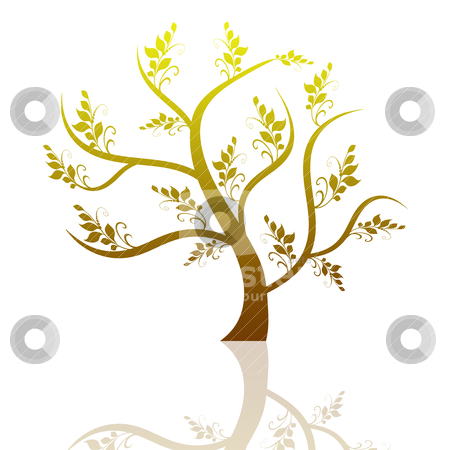 Art tree stock vector clipart, Beautiful abstract art tree with reflection on white background by Ingvar Bjork
