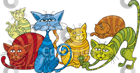 Color cats group stock vector clipart, Cartoon illustration of funny color cats by Igor Zakowski
