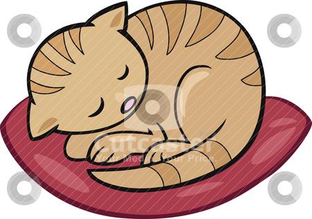 Sleeping kitten stock vector clipart, Cartoon illustration of sleeping kitten by Igor Zakowski