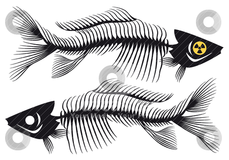 Fishbones, vector stock vector clipart, dead fishes with radioactive symbol, vector illustration by Beata Kraus
