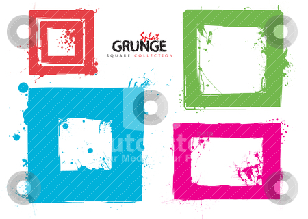 Grunge square collection ink stock vector clipart, Grunge square ink splat collection with bright colours by Michael Travers