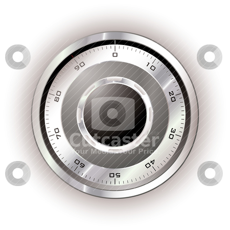 Safe dial white stock vector clipart, Silver safe dial with white background and light reflection by Michael Travers