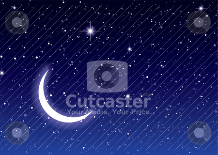 Space moon sky stock vector clipart, Nights sky with moon and stars ideal desktop or background by Michael Travers