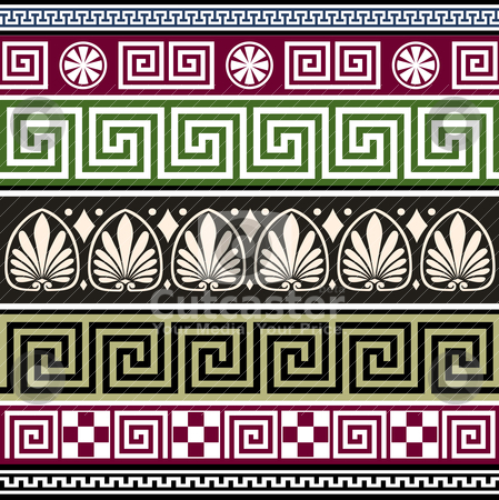 Set of antique greek ornaments stock vector clipart, Set of antique greek borders or ornaments. Full scalable vector graphic, repeating design. by Ela Kwasniewski