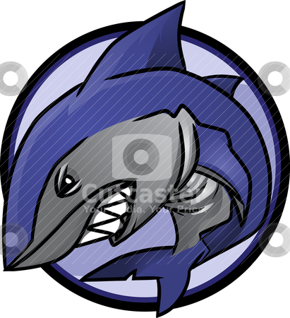 Shark Logo stock vector clipart, Great White Shark Logo!  Image is separated into layers for easy editing. by Ray Joachim