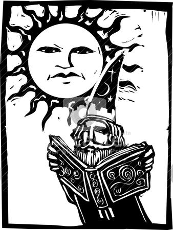 Wizard beneath a sun face stock vector clipart, Wizard reading a book beneath a sun with a face. by Jeffrey Thompson