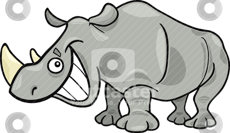 Rhinoceros stock vector clipart, cartoon illustration of funny african rhinoceros by Igor Zakowski