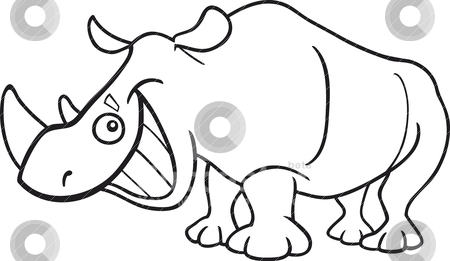 Rhinoceros for coloring book stock vector clipart, cartoon illustration of funny rhinoceros for coloring book by Igor Zakowski