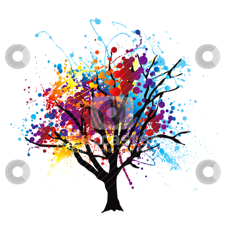Paint splat tree stock vector clipart, Modern abstract tree with paint splat leaves or canopy by Michael Travers