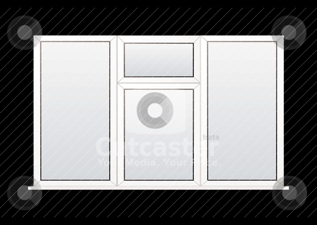 Plastic window stock vector clipart, Modern white double glazed plastic window with black background by Michael Travers