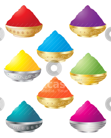Holi colors stock vector clipart, an illustration of decorative containers with colorful powder for the festival of holi by Mike Smith