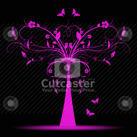 Art tree stock vector clipart, Beautiful and abstract art tree and butterfly  by Ingvar Bjork