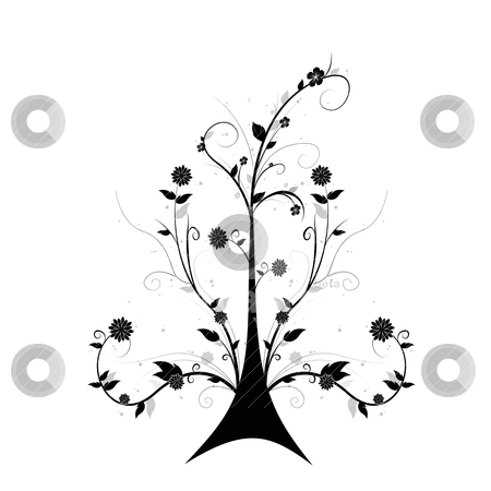 Art floral tree stock vector clipart, Beautiful abstract floral tree isolated on white background by Ingvar Bjork