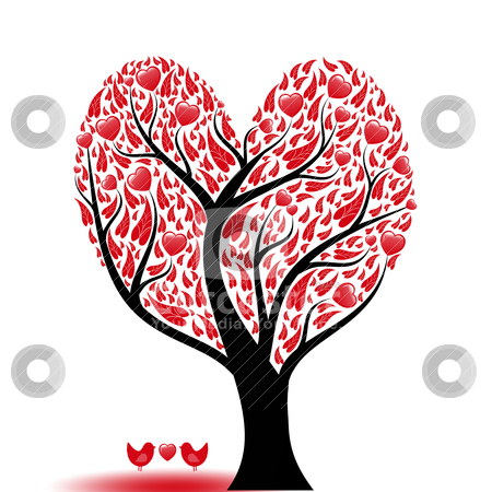 Love tree stock vector clipart, Beautiful abstract love tree with hearts and birds by Sasas Design