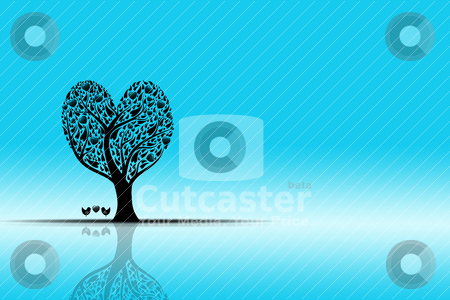 Landscape and art tree stock vector clipart, Beautiful landscape with art tree and reflection by Sasas Design