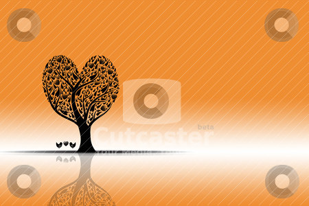 Sunset and art tree stock vector clipart, Beautiful sunset landscape with art tree and reflection by Sasas Design