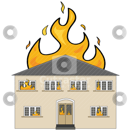 House on fire stock vector clipart, Cartoon illustration showing a two-storey house on fire by Bruno Marsiaj