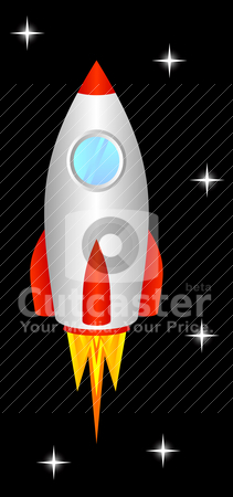 Space rocket. stock vector clipart, The space rocket flies upwards, to space. by Vitaliy Siladi
